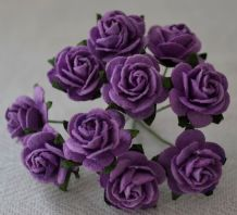 1.5cm DARK LILAC VIOLET Mulberry Paper Roses
